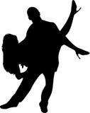 Pares de silhueta dos dançarinos sobre Imagens de Stock Royalty Free