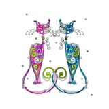 Pares de silhueta dos gatos para seu projeto Imagens de Stock