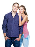 Pares de sorriso bonitos felizes novos Foto de Stock Royalty Free