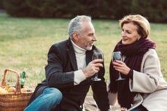 Pares de sorriso que guardam vidros de vinho Imagens de Stock Royalty Free