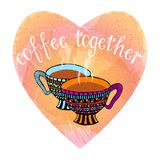 Pares de tazas de café tórridas dibujadas mano en la imitación en forma de corazón de la acuarela Fotos de archivo libres de regalías