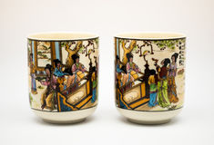 Pares de tazas de té chinas de cerámica antiguas Imagen de archivo libre de regalías