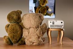 Pares de Teddy Bear que miran sus fotos con un mini proyector Imágenes de archivo libres de regalías