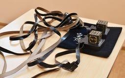 Pares de tfillin, símbolo religioso judío Foto de archivo libre de regalías