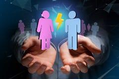 Pares de um homem e de uma reunião da mulher sobre o Internet - renderi 3D Imagens de Stock