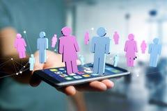 Pares de um homem e de uma reunião da mulher sobre o Internet - renderi 3D Foto de Stock