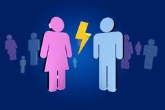 Pares de um homem e de uma reunião da mulher sobre o Internet - renderi 3D Imagem de Stock Royalty Free