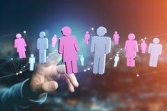 Pares de um homem e de uma reunião da mulher sobre o Internet - renderi 3D Fotos de Stock