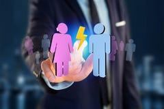 Pares de um homem e de uma reunião da mulher sobre o Internet - renderi 3D Imagens de Stock Royalty Free