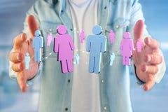 Pares de um homem e de uma reunião da mulher sobre o Internet - renderi 3D Fotografia de Stock
