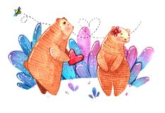 Pares de ursos, coração da aquarela do presente do urso para o outro urso Imagens de Stock