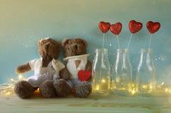 Pares de ursos de peluche bonitos que guardam um coração Fotografia de Stock