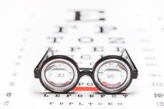 Pares de vidrios nerdy en una carta de ojo Fotos de archivo