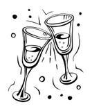 Pares de vidros do champanhe Fotos de Stock Royalty Free
