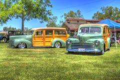Pares de Woody Cars em HDR Fotografia de Stock Royalty Free