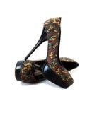 Pares de zapatos del tacón alto del estilete del camuflaje Imagen de archivo