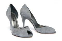 Pares de zapatos femeninos grises Imagen de archivo libre de regalías