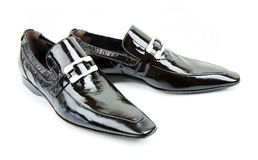 Pares de zapatos negros de los man?s Fotografía de archivo