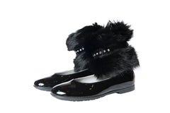 Pares de zapatos planos negros Imagen de archivo libre de regalías