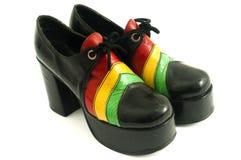 Pares de zapatos retros del alto talón de la plataforma de las señoras Imagen de archivo libre de regalías