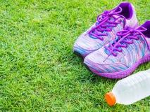 Pares de zapatos y de botella de agua rosados del deporte en campo de hierba verde Foto de archivo libre de regalías