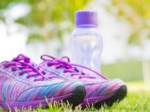 Pares de zapatos y de botella de agua rosados del deporte en campo de hierba verde En el rastro del bosque o del parque del fondo Imagen de archivo
