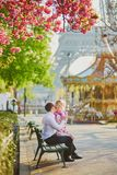 Pares debajo del cerezo floreciente en un d?a de primavera con la torre Eiffel fotos de archivo libres de regalías