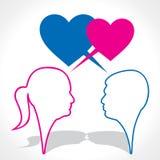 Pares del amante con la burbuja del mensaje de la dimensión de una variable del corazón ilustración del vector