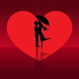 Pares del amor en día de tarjetas del día de San Valentín Fotos de archivo libres de regalías