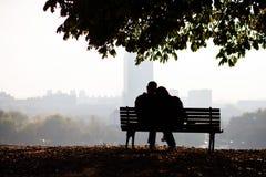 Pares del amor en el parque Fotografía de archivo libre de regalías