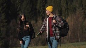Pares del caminante que caminan en los caminantes románticos del bosque que disfrutan de la visión en paisaje hermoso de la monta almacen de metraje de vídeo