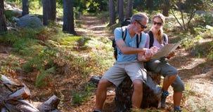 Pares del caminante que se sientan en roca y que miran el mapa almacen de video