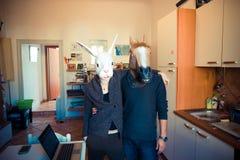Pares del conejo y del caballo de la máscara en amor fotografía de archivo