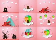 Pares del control one&#x27 del amor; manos de s Diseño del vector en los wi del arte de papel ilustración del vector