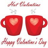 Pares del día de San Valentín de la tarjeta del día de San Valentín caliente del fondo blanco de las tazas Imágenes de archivo libres de regalías