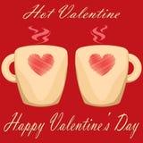 Pares del día de San Valentín de la tarjeta del día de San Valentín caliente del fondo rojo de las tazas Imágenes de archivo libres de regalías