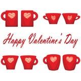 Pares del día de San Valentín del fondo del blanco de las tazas Foto de archivo