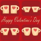Pares del día de San Valentín del fondo del rojo de las tazas Imágenes de archivo libres de regalías