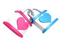 Pares del día de tarjeta del día de San Valentín de dos símbolos del corazón de los candados Imagen de archivo