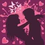 Pares del día de tarjeta del día de San Valentín de amantes en púrpura y el ejemplo rosado del vector libre illustration