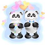 Pares del ejemplo de las pandas ilustración del vector