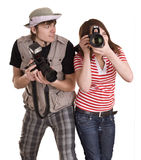 Pares del fotógrafo con las cámaras digitales. Fotos de archivo libres de regalías