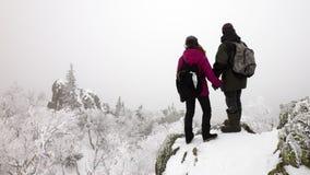 pares del invierno en las montañas imagenes de archivo