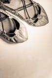 Pares del man& x27; s y woman& x27; s cubre los zapatos del baile con cuero en imagen vertical destacada sepia Imagen de archivo