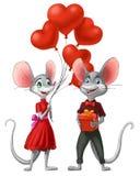 Pares del ratón en amor el día del ` s de la tarjeta del día de San Valentín Imagen de archivo