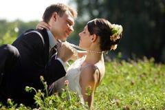 Pares del recién casado que se besan en campo Imágenes de archivo libres de regalías