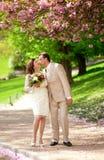 Pares del recién casado que se besan en parque en la primavera Imágenes de archivo libres de regalías