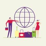 Pares del viaje con los bolsos y el globo libre illustration