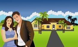 Pares delante del hogar unifamiliar ilustración del vector