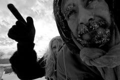 Pares desabrigados de congelação Fotografia de Stock Royalty Free